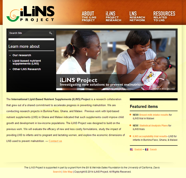 International Lipid-Based Nutrient Supplements (iLiNS) web page